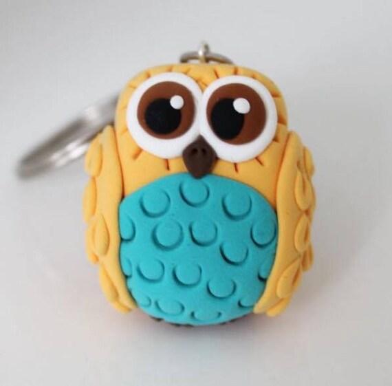 Yellow owl keychain • big brown eyes • handmade doll • animal • bird