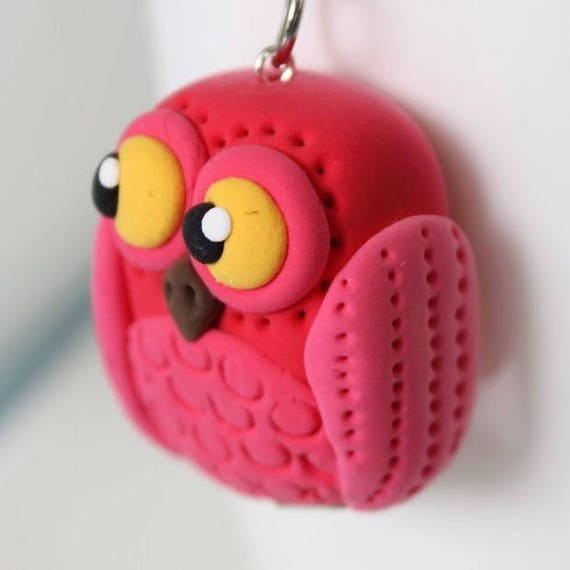 Red Owl Keychain • Miniature • Unique gift • one of a kind •