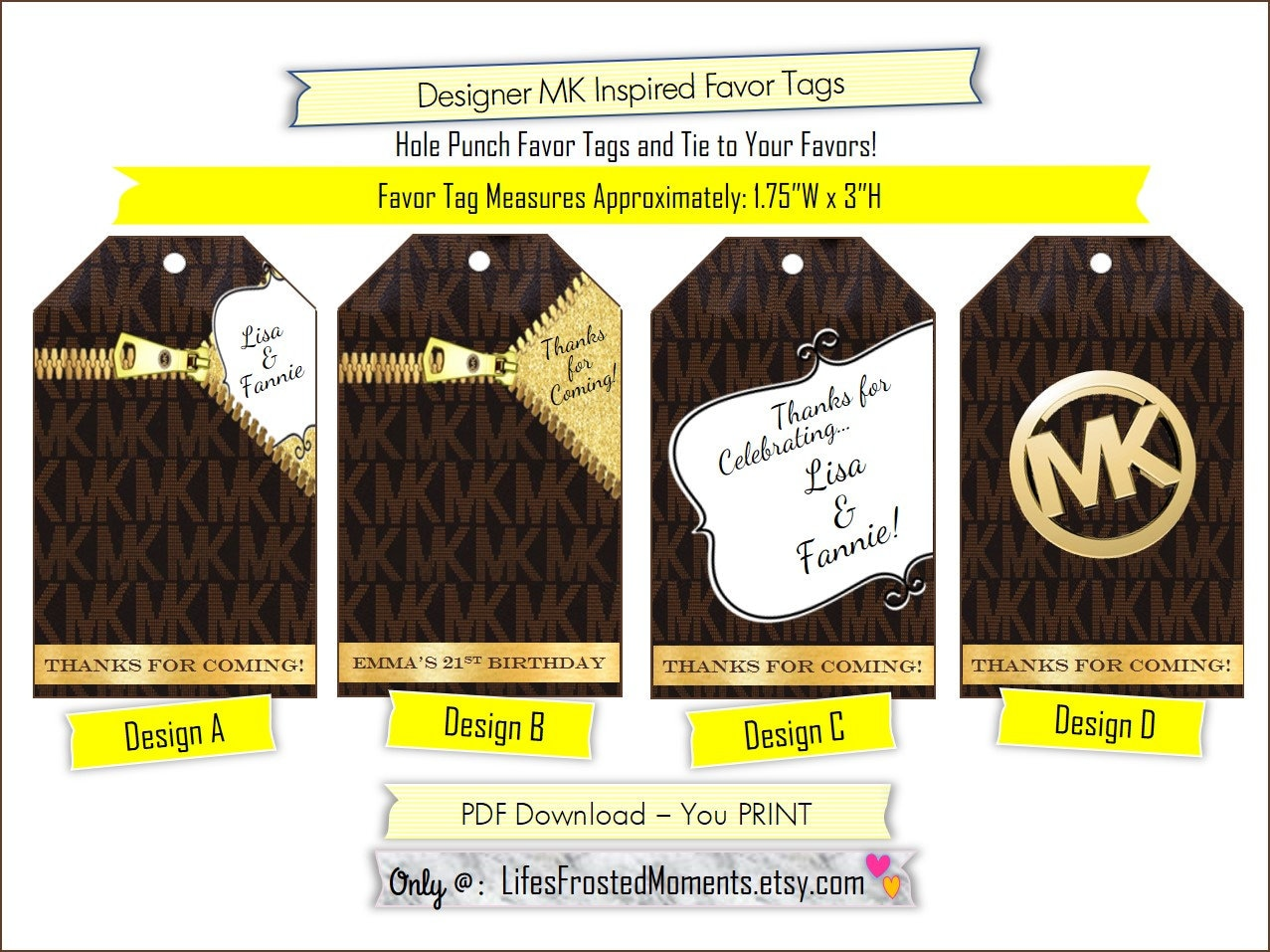 pdf designer fashion mk inspired custom personalized party tag