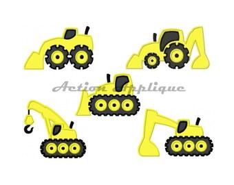 DESIGN SET Construction Vehicles Set Of Five Separate Machine Applique Embroidery Design Fits Hoops 4x4 5x7 6x10 Instant Download