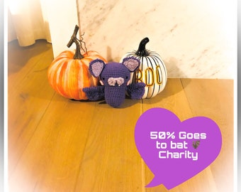 Bat Dog Toy -Materials Made in the USA - Proceeds are donated to benefit Australian Bats - Squeaker, No Squeaker or Crinkle material.