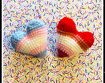 Pride Flag Organic Catnip Hearts USA Catnip or Organic Valerian root from Yarn Made in the USA.   Great  Gift for Cat Lover