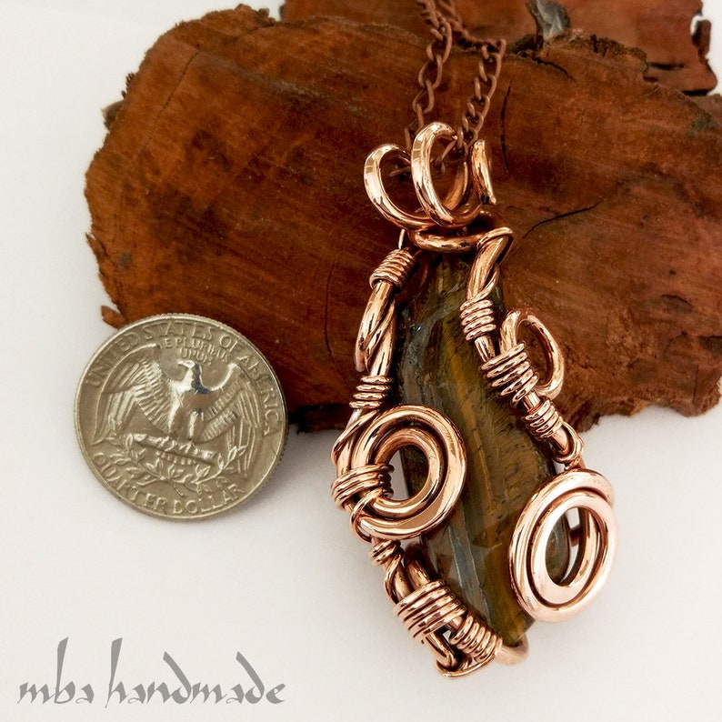 Tumbled Tiger/'s Eye Crystal Necklace Antiqued Copper Wire Wrapped Pendant Artisan Handcrafted Vintage Natural Gemstone by MBA Handmade