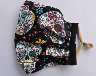 Sugar skull face mask, sugar skull mask, pleated face mask with filter pocket, nose wire, cotton face mask, double layer, washable face mask