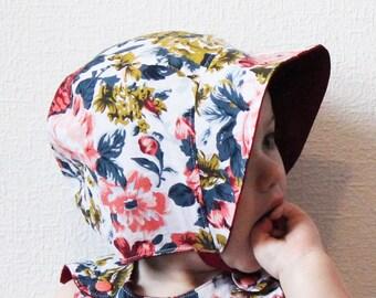 Baby bonnet, Reversible hat, Cotton, Linen, Sunhat, Vintage, Retro, Summer, Spring, Classic, Adorable, Lightweight, Girly, Floral, Adorable