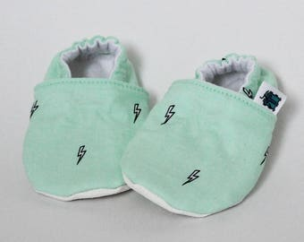 Children slippers, Mint green, Lightning, Rock n roll, Crib shoes, Flannel, Cotton, Soft soles, Moccasins, Toddler, Baby shower gift idea