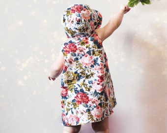 Reversible Dress, Linen, Coton, A-line, Floral, Grow with me, Snaps, Toddler, Girl, Baby shower gift idea, Wedding, Flower girl, Birthday