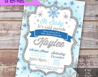 snowflake baby shower invitation blue printable invite 5x7 or 4x6 invite winter wonderland party oh baby digital invite diy