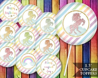 """Unicorn Cupcake Toppers, Rainbow Unicorn Birthday Party, Pastel Party Printable, Glitter Decoration, 1.5"""" Topper, INSTANT DOWNLOAD"""
