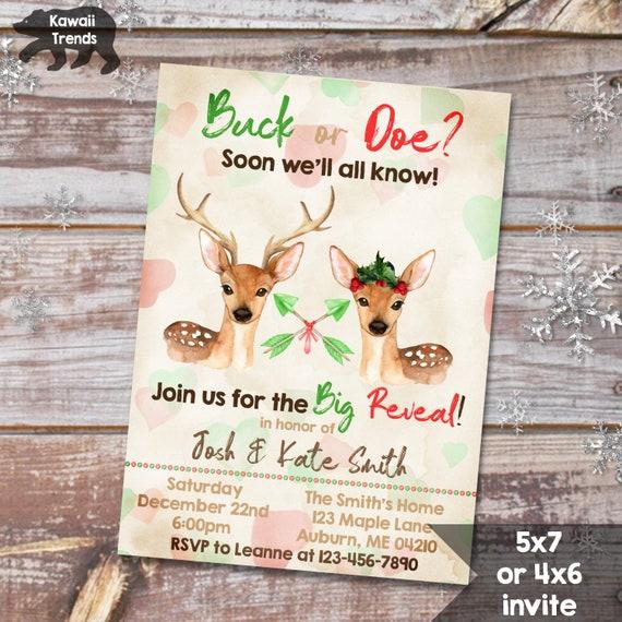 Christmas Buck Or Doe Gender Reveal Invitation Woodland