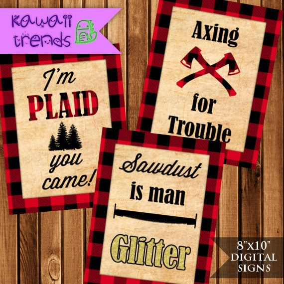 Lumberjack Signs, Lumberjack Quotes, Digital Signs, Printable Party Images,  5 Plaid Posters, INSTANT DOWNLOAD