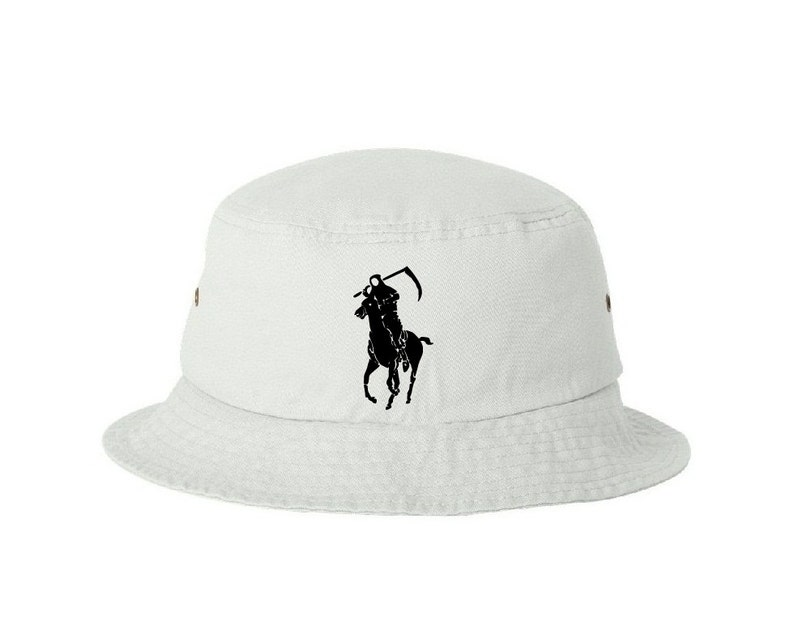 Grim Reaper Polo Japan Very Rare white bucket hat by Dope  33d7010d36d