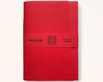 Origin One Bright Red Notebook, Handmade Pocketbook, Exercise Book, Notebook, Fine Quality, Made in the UK, Pocket Notebook