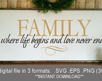SVG Family never ends, where life begins and love never ends, farmhouse svg, family sign cricut, family print PNG , life love family sign