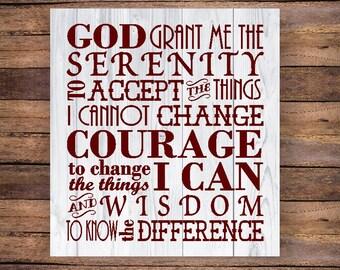 SVG Serenity Prayer / serenity prayer sign / Cricut serenity prayer / Courage / Wisdom / Serenity Prayer print / Serenity png eps