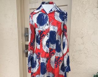 1960s Red, White & Blue Polyester Long Sleeved GoGo Dress