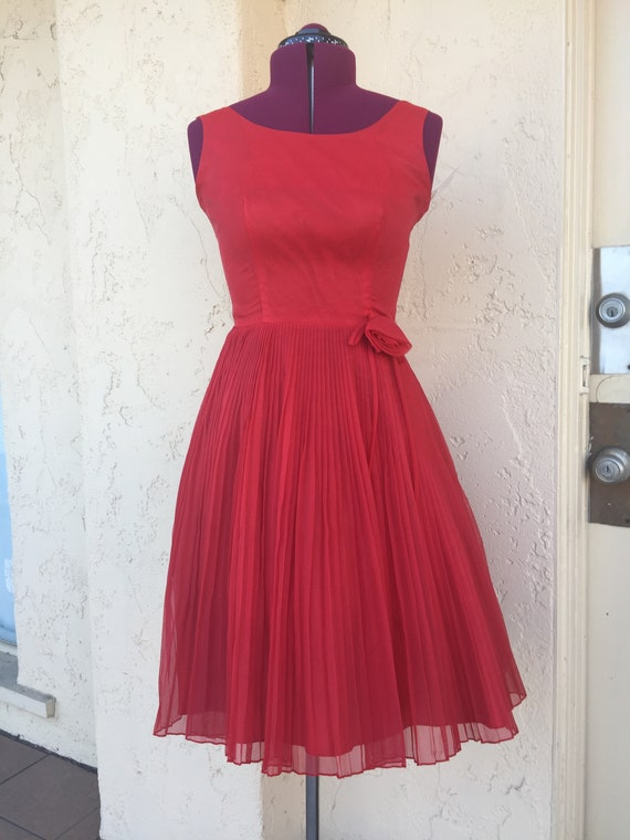 1950's True Vintage Red Chiffon Pleated Prom,Party