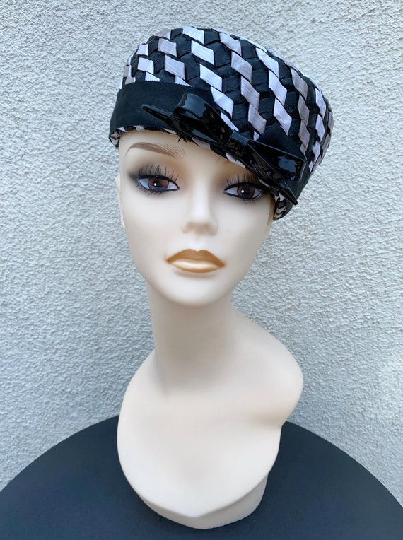 1960's Straw Black & White Pillbox Hat