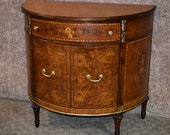 Spectacular Antique Inlaid Satinwood French Style Demi Lune Cabinet