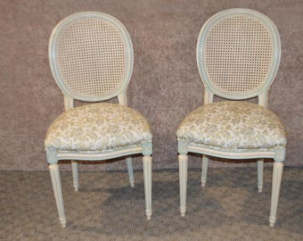 Pair Of French Style Rounded Cane Back Boudoir Chairs
