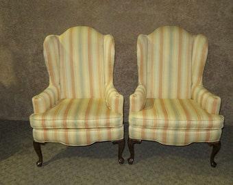 Vintage Ethan Allen Queen Anne Style Wing Chairs