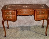 Vintage Unique Hand Decorated French Provincial Style Ladies Writing Table Desk