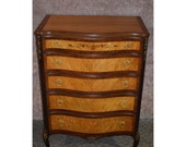 Antique Carved Inlaid Rosewood and Satinwood French Style Chest of Drawers