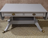 Vintage Distressed Gray Traditional Style Drop Leaf Cocktail Table w Two Drawers