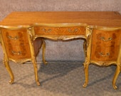 Antique French Style Carved Inlaid Satinwood Ladies Writing Desk