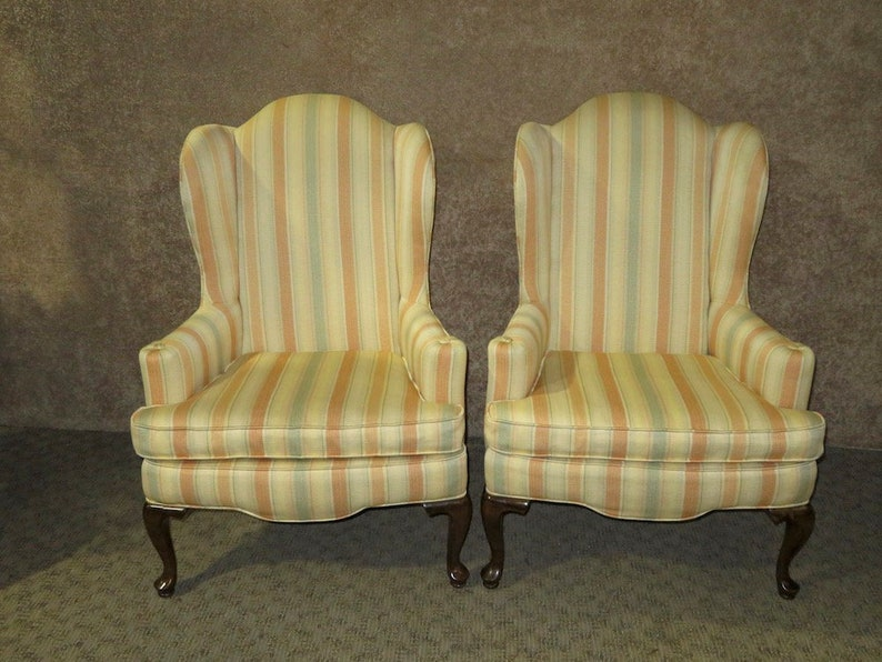 Cool Vintage Ethan Allen Queen Anne Style Wing Chairs Short Links Chair Design For Home Short Linksinfo