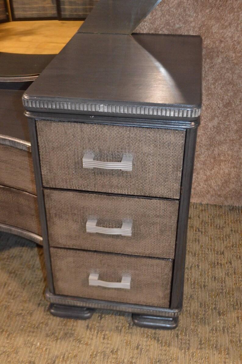 Vintage Art Deco Vanity wMirror /& Bench in a Silver Gray Finish