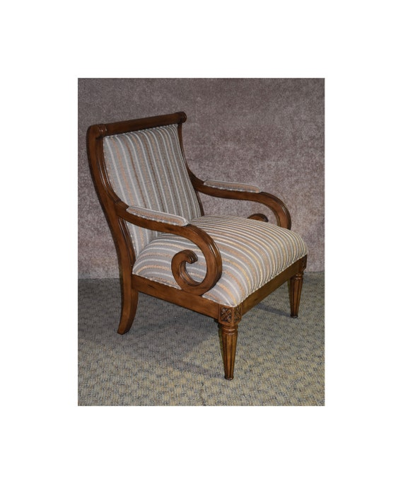 Incredible Traditional Style Striped Accent Chair W Carved Wood Unemploymentrelief Wooden Chair Designs For Living Room Unemploymentrelieforg