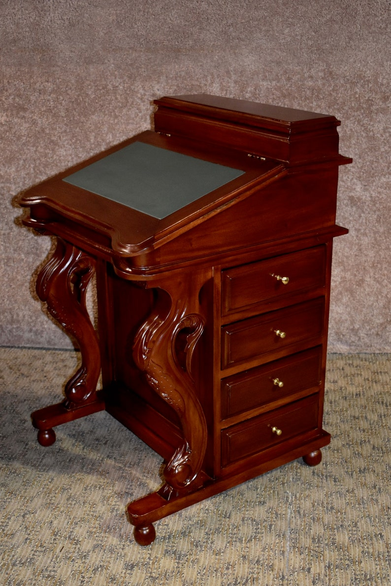 Antique Reproduction Mahogany Davenport Flip Top Desk Wfitted Etsy