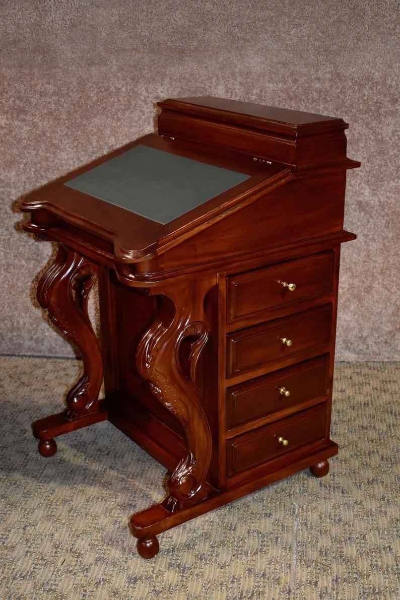 Antique Reproduction Mahogany Davenport Flip Top Desk Wfitted Etsy