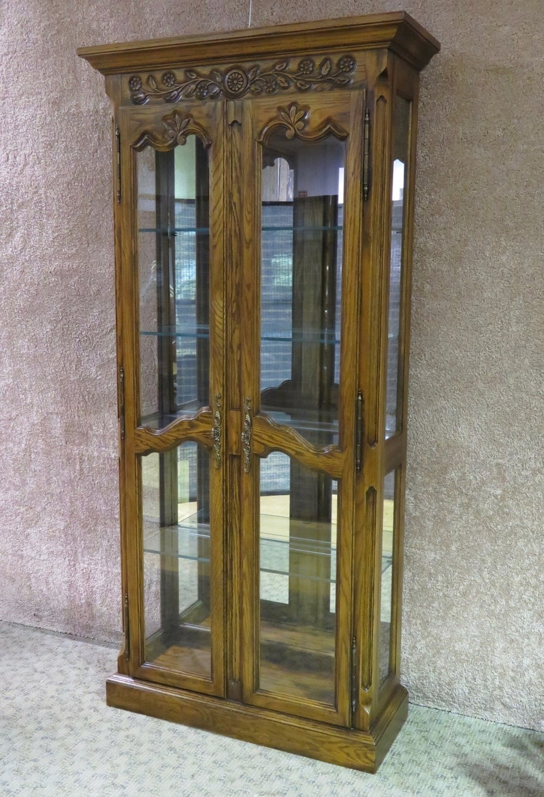 Vintage Carved Country French Two Door Curio Cabinet