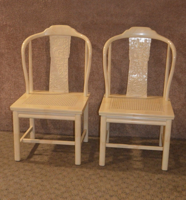 Pair of Vintage Henredon Asian Style Accent Chairs w/Marbelized Finish