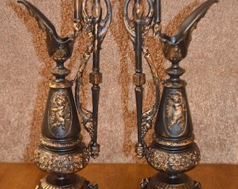 Pair of Vintage Decorative Urns w/Gold Highlights