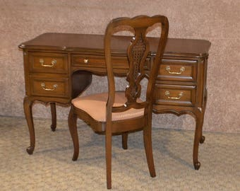 Vintage Hickory French Style Desk W/Finished Back & Chair