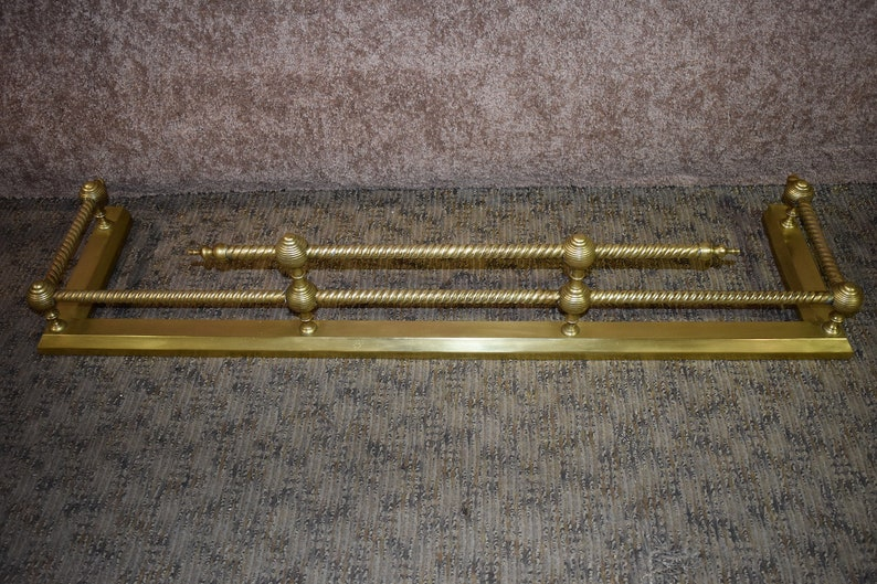 Vintage Solid Brass Fireplace Fender W Turned Spindles Etsy