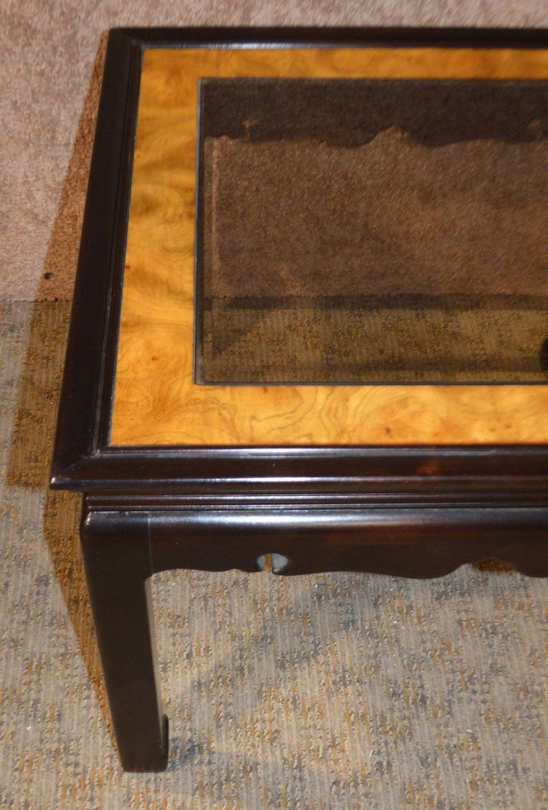 Vintage Asian Style Glass Top Side Table