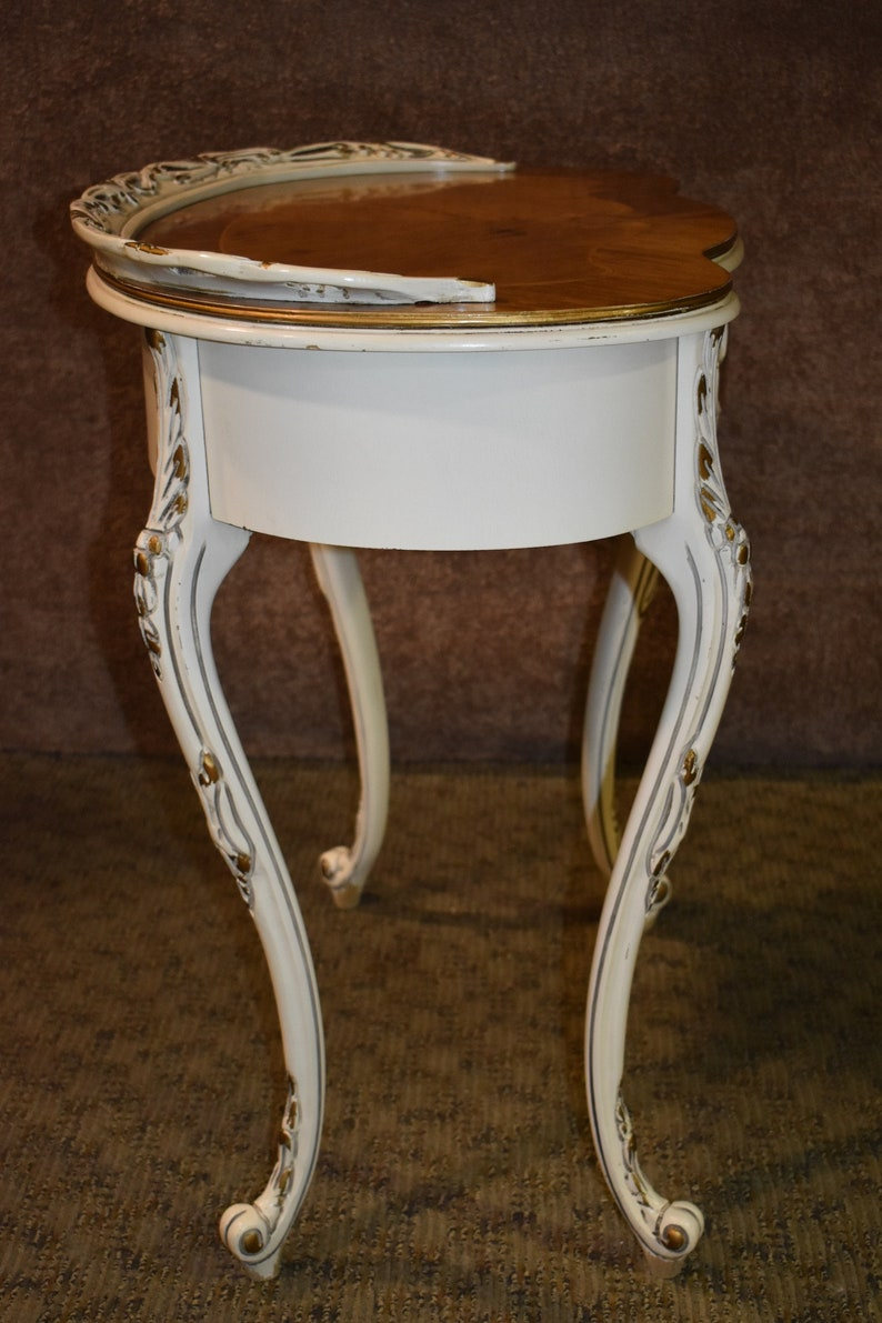 Vintage French Provincial Inlaid Carved Kidney Shaped Ladies Writing Desk