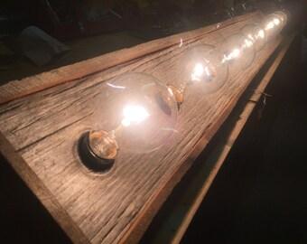 Rustic barn wood Bathroom Vanity Light bar with Indiana re-claimed Barn wood