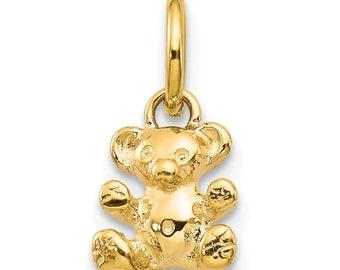 84702b68043022 Ladies 14K Yellow Gold Cute Teddy Bear Toy Children Charm Pendant - 12mm