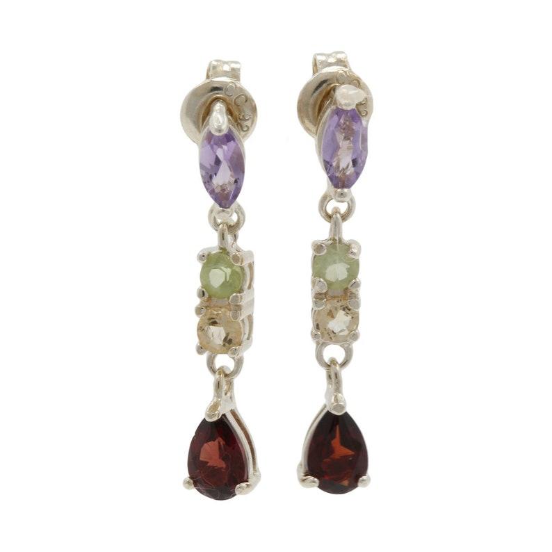 25.5mm Ladies Estate 925 Sterling Silver Multi-Color Gemstone Dangle Earrings