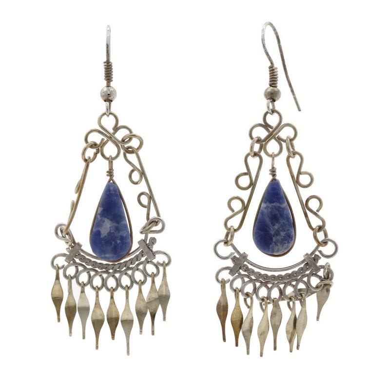 Ladies Vintage Estate 925 Silver Blue Sodalite Teardrop Dangle Earrings 63.5mm