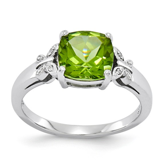 Ladies Estate 14K White Gold Gemstone Peridot & Diamond Butterfly Cathedral Ring