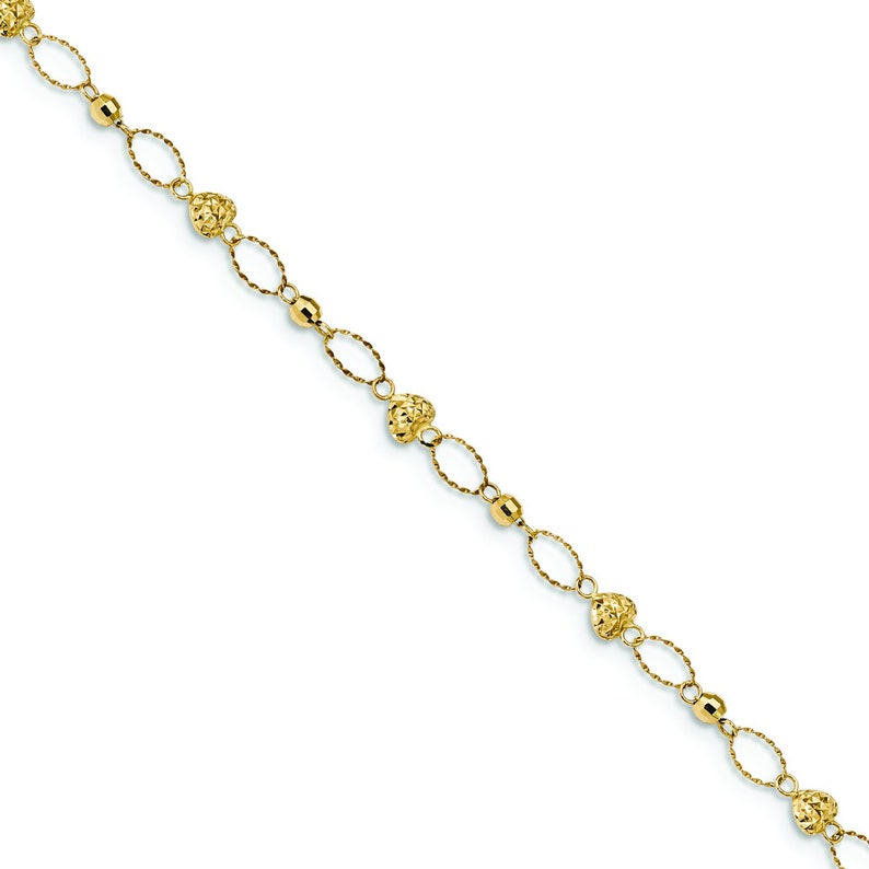 Ladies 14K Yellow Gold Puffed Heart Beaded Oval Links Bracelet 7.5 inches