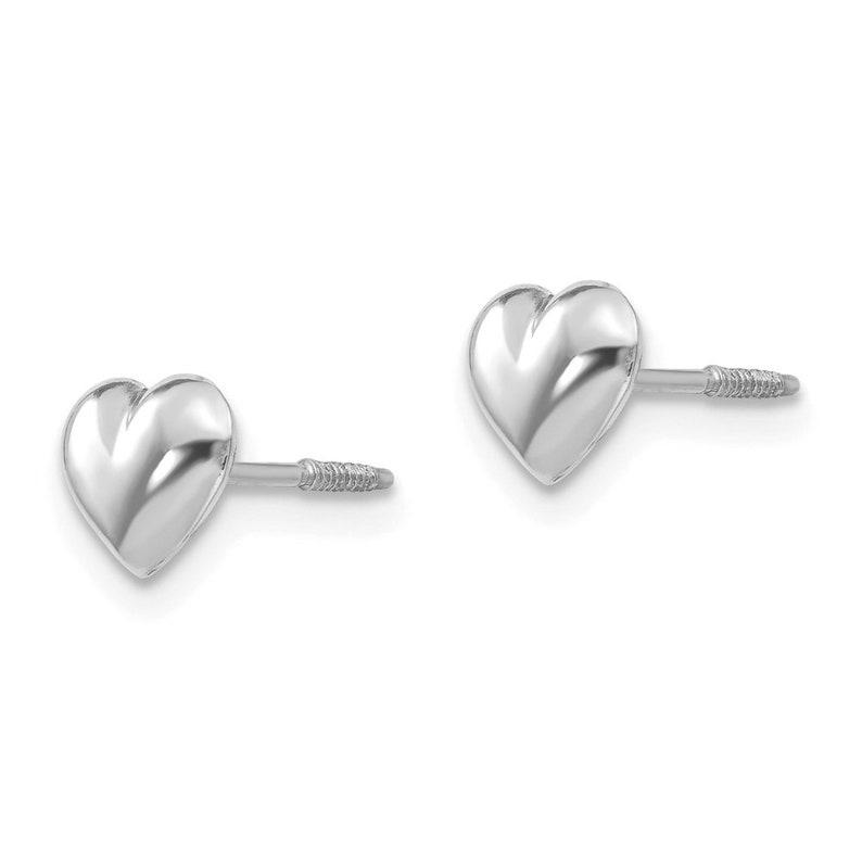 6mm Ladies 14K White Gold Romantic Love Heart Screw Back Stud Earrings