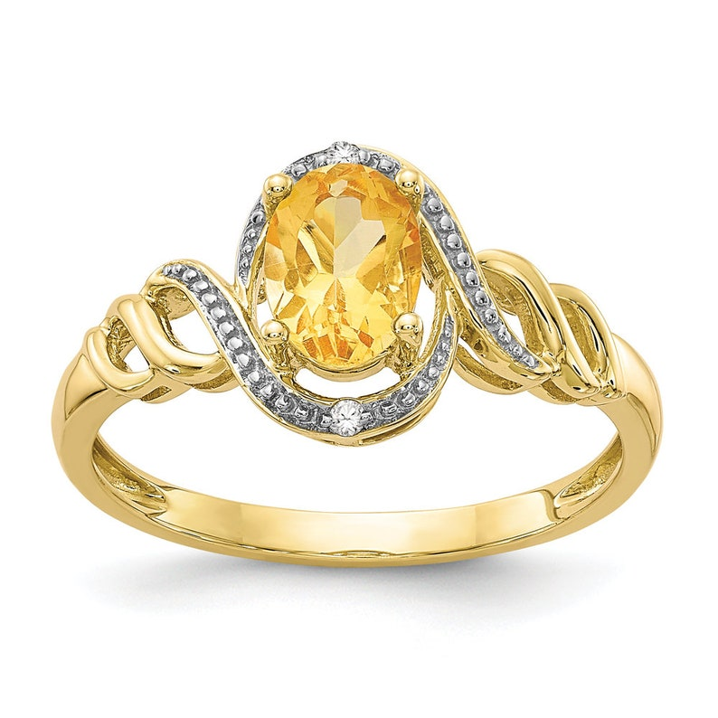 Ladies 10K Yellow Gold Oval Citrine Gemstone /& Diamond Bypass Twisted Band Ring