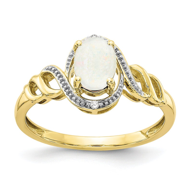 Ladies Modern 10K Yellow Gold Opal Gemstone /& Diamond Bypass Twisted Band Ring